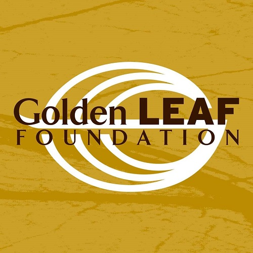 gold and white logo for the golden leaf foundation