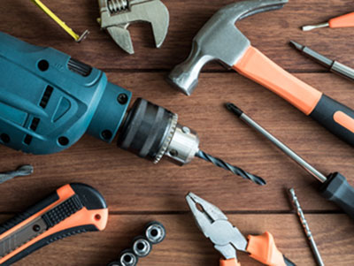 hammer, screwdriver, drill, an other tools