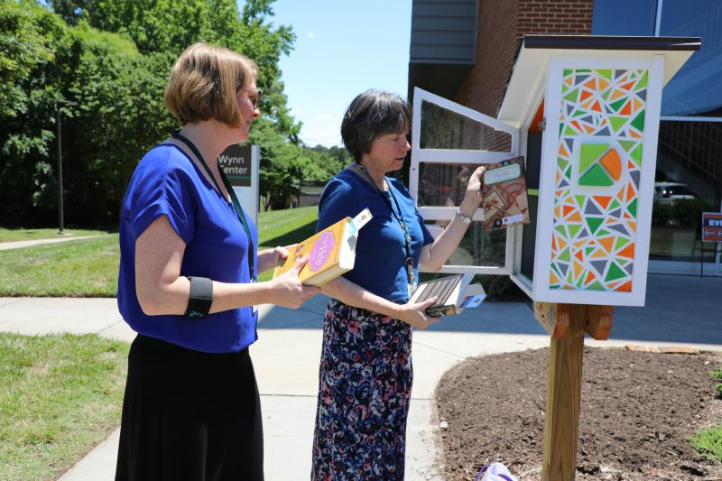 library staff putting books in free little libraries