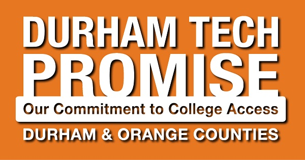 durham tech promise text on orange background