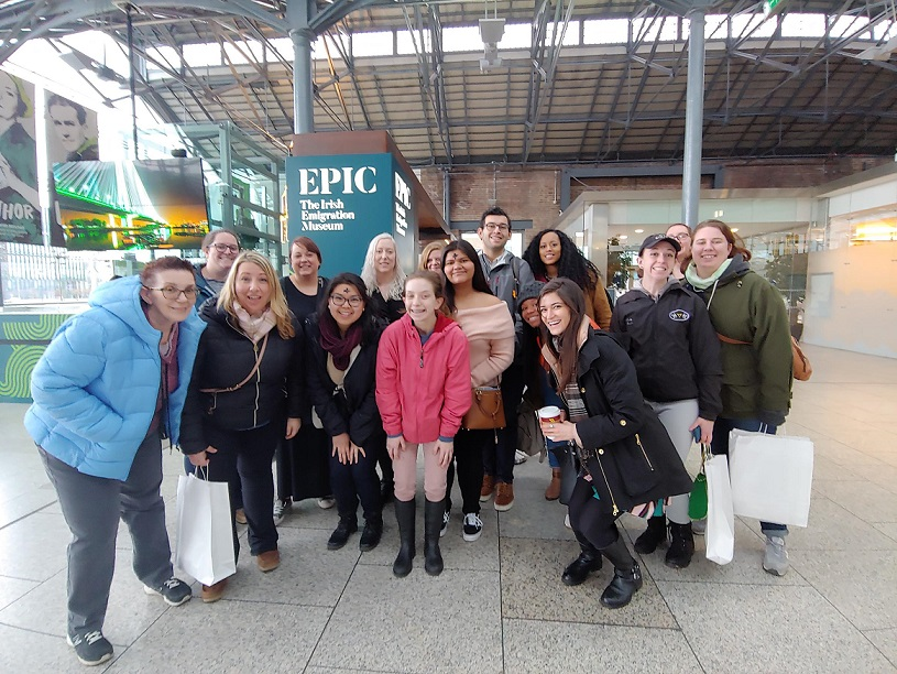 group of students smiling at ireland airport