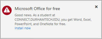 Microsoft Office for free. Good news. As a student at connect.durhamtech.edu, you get Word, Excel, PowerPoint, and OneNote for free. Install Now
