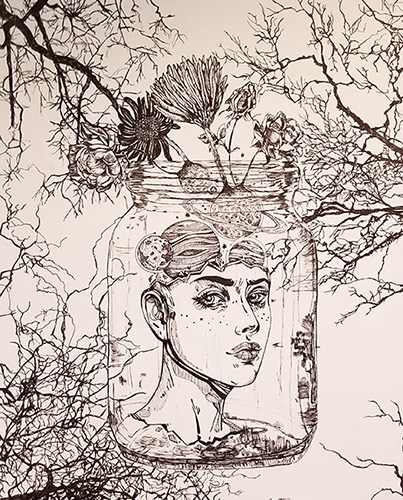 ink drawing of a head in a jar floating in the middle of trees