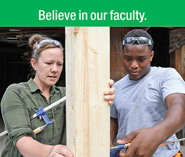 Believe in our faculty. Construction instructor shows student how to measure a a beam