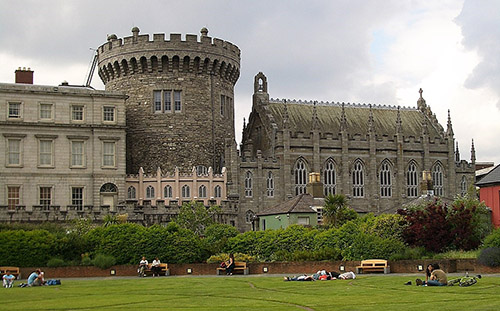 Dublin Castle with stone turret and cathedral