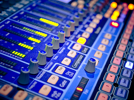 music mixing board